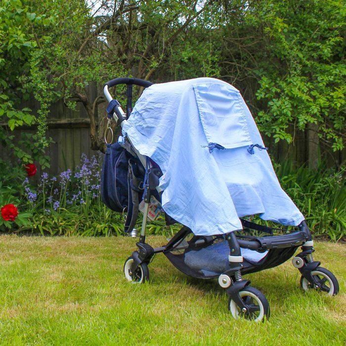 new blue pushchair shade