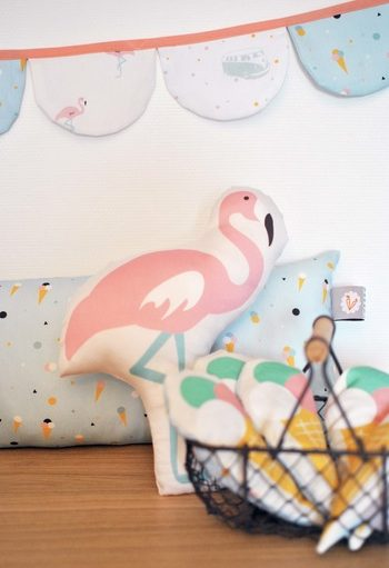 Gorgeous Flamingo cushion that will brighten up any child's room It's designed and made in France This Flamingo cushion is a must have accessory to personalise a bedroom?