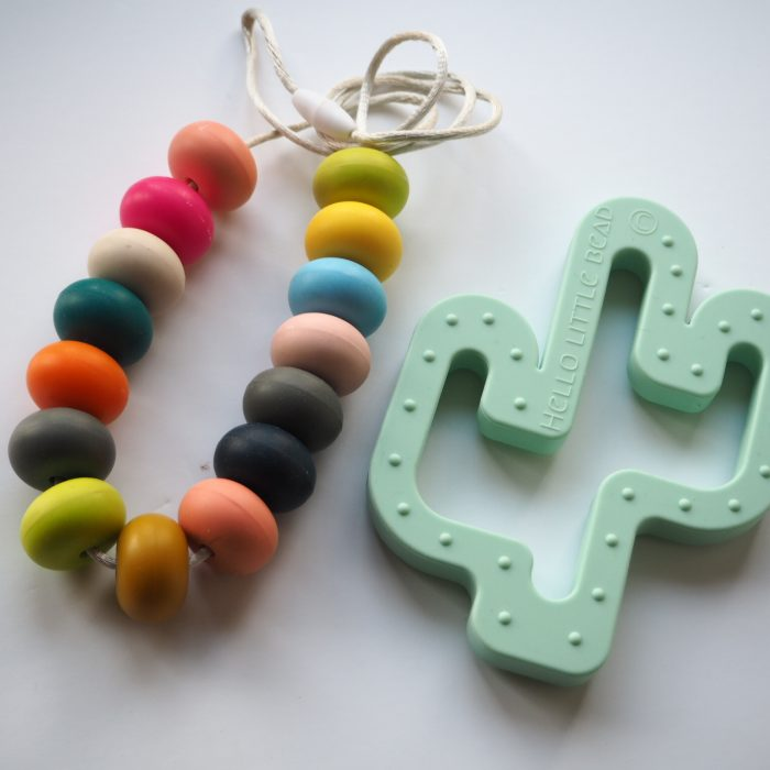 cactus teether and teething necklaces